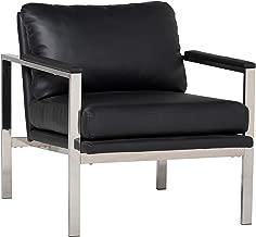 Studio Designs Home Lintel Modern Leather Arm Chair in Chrome/Black 72029, 28