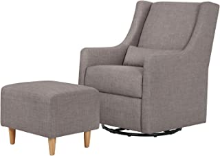 Babyletto Toco Upholstered Swivel Glider and Stationary Ottoman, Grey Tweed
