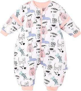 Bebé Saco de Dormir con Piernas Invierno Algodón Pijama Dividida Manga Cálido Mamelucos Dibujos Animados Mono Niños Niñas ...