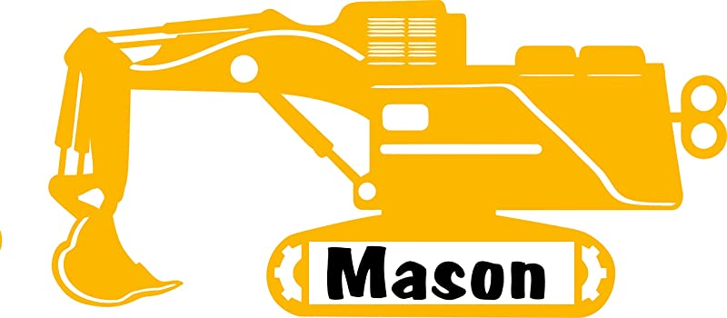 Personalized Name Decal Sticker Custom Initial Wall Art Personalization Decor Childrens Boy Bedroom Construction Truck Heavy Equipment Digger Toy 12 Inches X 18 Inches