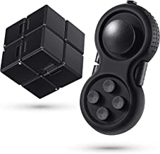 2 Pieces Mini Fidget Toy Set Include Infinity Cube Handheld Fidget Toy Cube Cam Fidget Controller Pad Anxiety and Stress R...