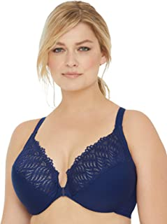 Glamorise Women's Full Figure Front Close Lace T-Back Wonderwire Bra #1246