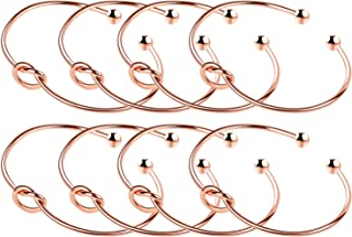 Love Knot Bangle Bracelet Bridesmaid Gifts Bracelets, Tie The Knot Cuff Bangle Stretch Bracelet for Bridesmaid, Rose Gold Tone, Set of 3 4 5 6 7 8