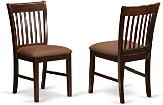 East West Furniture Dining Room Chair Set with Upholstered Seat, Mahogany Finish, Set of 2