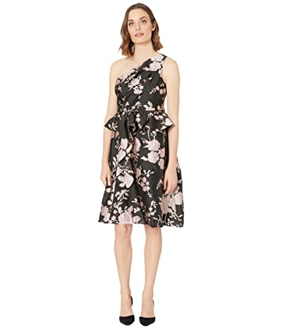 Adrianna Papell One Shoulder Floral Jacquard Cocktail Dress (Black/Pink Multi) Women