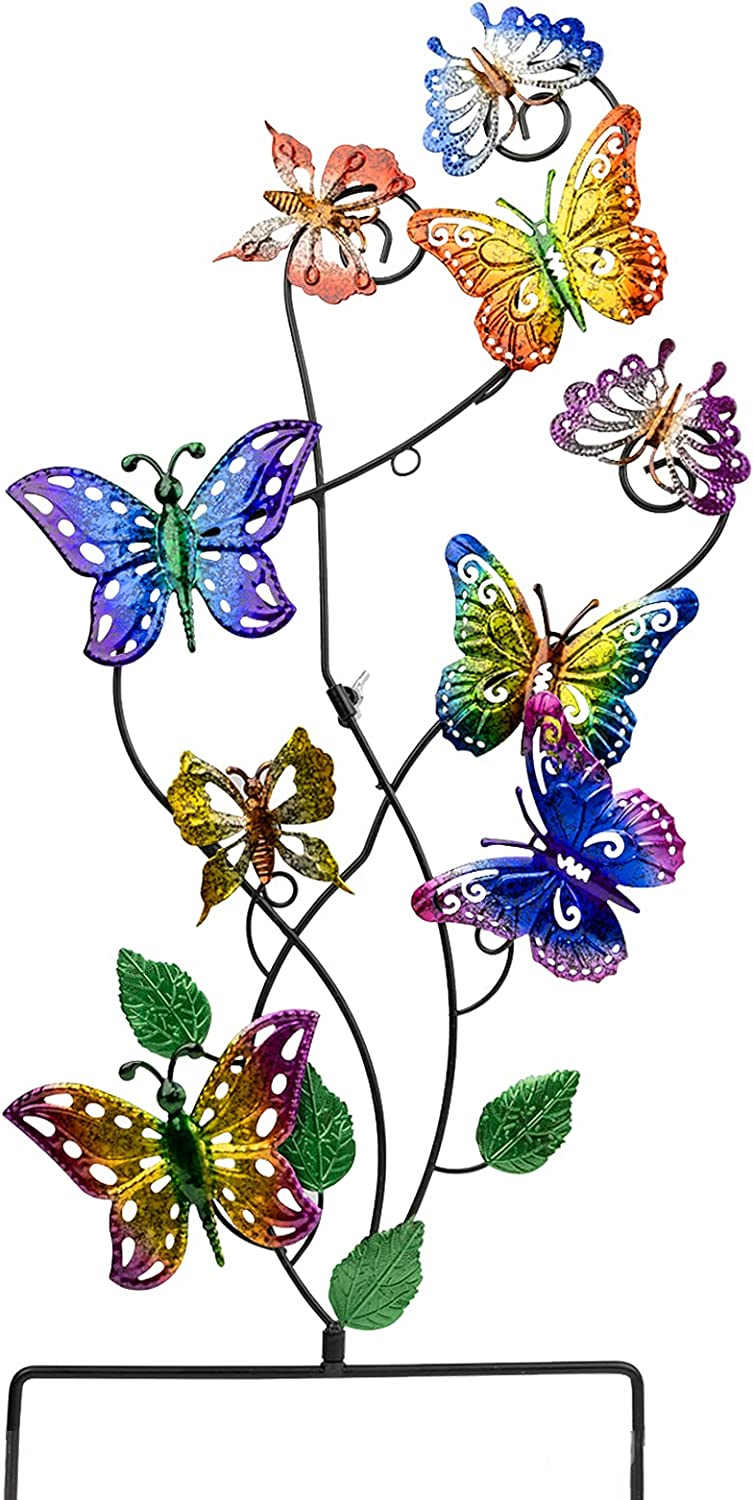 VEWOSTAR Garden Stake Butterfly Decorative Metal Yard Art 28.3 Inch Indoor Outdoor Patio Lawn Ornaments