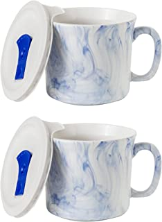 CorningWare Soup Mug with Lid Vented Microwave 20-oz – 2 Pack (Marble Marine Blue)