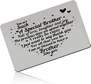 Brother Gift Engraved Wallet Card Inserts for Boys Brother Birthday Gift Metal Wallet Insert Card Gift for Men Graduation ...