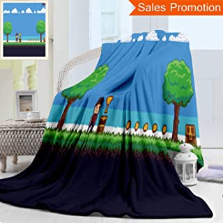 Unique Custom Warm 3D Print Flannel Blanket Pixel Art Game Scene With Ground Grass Trees Sky Clouds Character Coins Treasure Chests A Cozy Plush Supersoft Blankets for Couch Bed, Twin Size 60