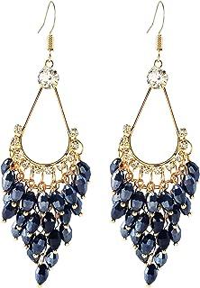 LAXPICOL Fashion Bohemian Long Earrings Clear Crystal Chandelier Fish Hook Earrings For Women Golden Tone