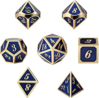 Metal Dice Set DND, 7 die Metal Polyhedral Dice Set with Metal Box Blue Color and Gold Number for Role Playing Game Dungeons and Dragons D&D Pathfinder and Shadowrun