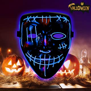 Halloween Mask LED Light Up Mask Scary Mask for Festival Cosplay Halloween Costume Party