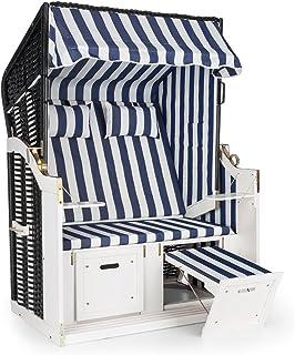 blumfeldt Hiddensee Sillón de Playa XL (2 Asientos Tumbona de jardín Acolchado reclinable reposapiés toldo Plegable ...