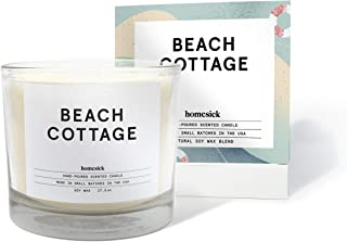 Homesick 3 Wick Scented Candle, Soy Wax - 27.5 oz (90 to 110 hrs Burn Time), Beach Cottage