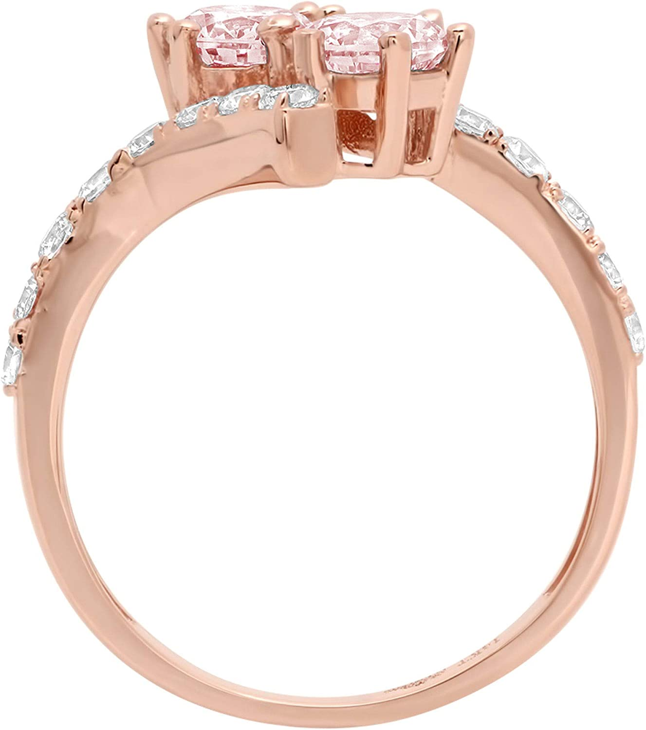 1.92ct Round Cut 2 stone love Solitaire Pink Ideal VVS1 Simulated Diamond CZ Engagement Promise Statement Anniversary Bridal Wedding with accent Ring Solid 14k Rose Gold