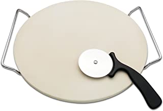 Cordierite Pizza Stone with Heavy Serving Rack and Deluxe Wheel Pizza Cutter For Indoor and Oven