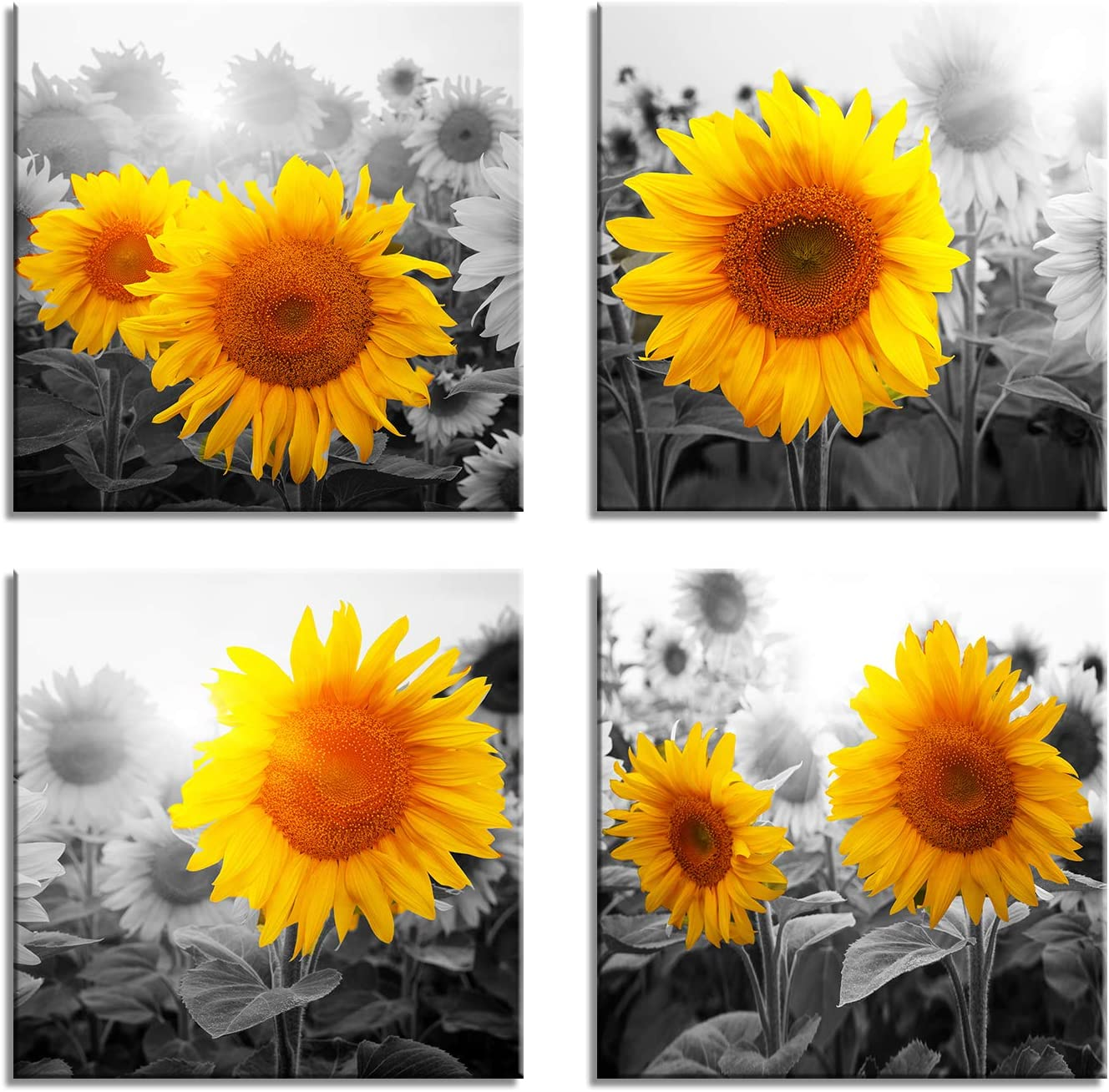 Amazon Com Canvas Wall Art For Living Room Bathroom Decor Bedroom Kitchen Artwork Prints Sunflower Flowers Painting 12 X 16 3 Pieces Modern Framed Office Home Decorations Family Picture Posters