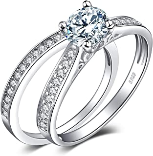 JewelryPalace Wedding Rings Solitaire Engagement Rings For Women Anniversary Promise Ring Bridal Sets 925 Sterling Silver 1.3ct Cubic Zirconia Simulated Diamond
