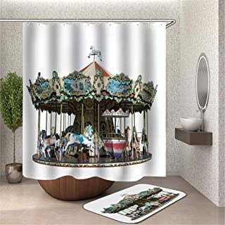 ZYJ Carousel in The Playground. Shower Curtain. Waterproof Fabric. 3D Hd Printing. 180X180Cm. Carpet. Non-Slip. Plus Velvet. 40X60Cm.