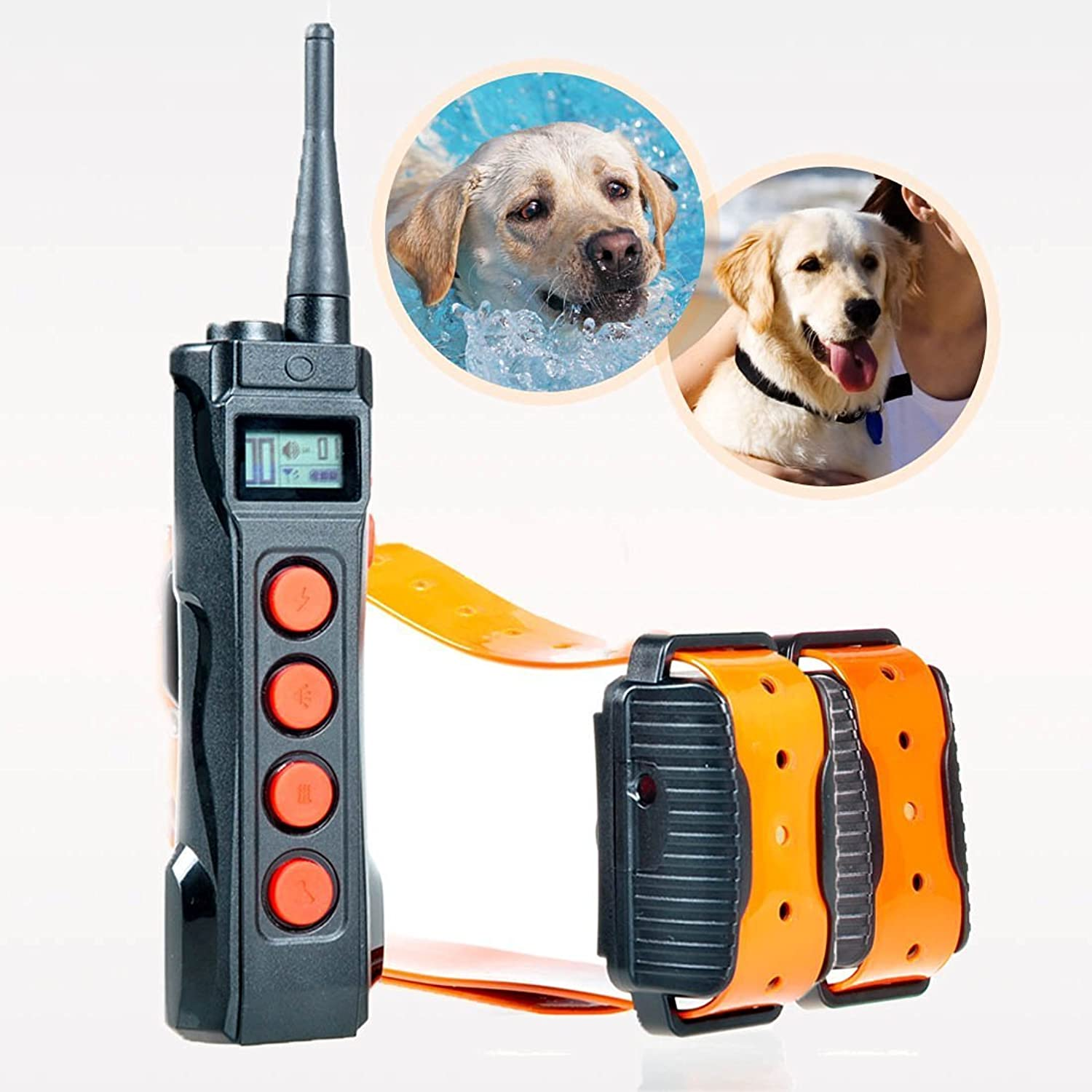 Aetertek Remote Dog Shock Collar 1 Year Warranty 1000M Range 5 Modes (Shock, Light, Vibration, Beep & Auto Anti bark) Safe Dogs Rechargeable & Waterproof Trainer (for 2 Dogs)