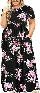 Kancystore Women Long Sleeve/Short Sleeve Plus Size Long Maxi Dress with Pockets Loose Casual T-Shirt Dress