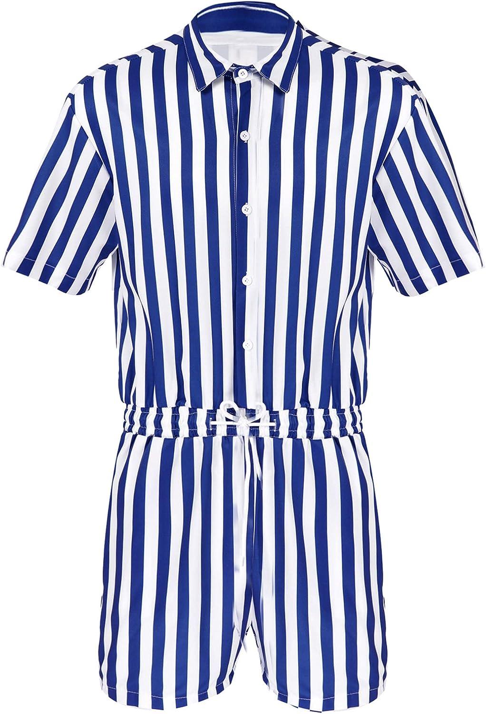 zdhoor Man Summer Lapel Collar Max 53% OFF Stri Bodysuit Popular products Shirt Sleeves Short