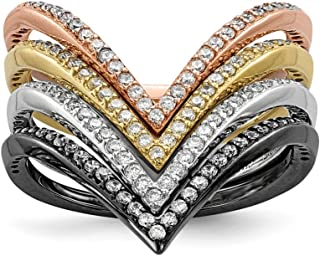 ICE CARATS 925 Sterling Silver Black Plate Gold Rose Tone Cubic Zirconia Cz 4 Band Ring Set Size 7.00 Fine Jewelry Ideal Gifts For Women Gift Set From Heart