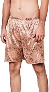 LOKKSI Casual Loose Men's Satin Silk Pyjama Shorts Sleepwear, CoolPyjamaBottomsMens, PlaidPyjamaBottomsMen M-5XL