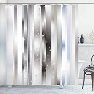 Ambesonne Stripes Shower Curtain, Modern Composition with Vertical Color Bands and Vibrant Star, Cloth Fabric Bathroom Decor Set with Hooks, 70