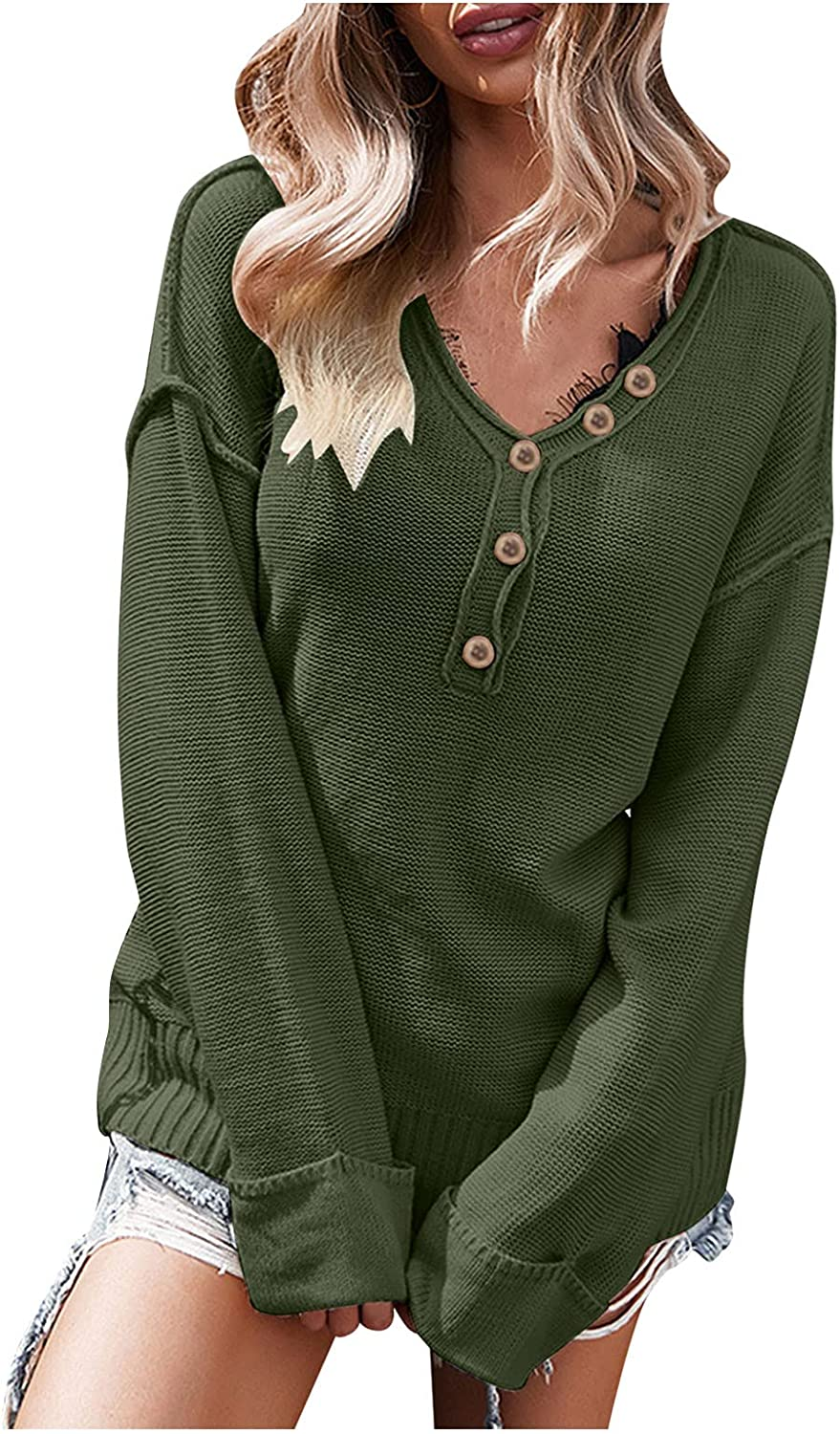 BEUU Women's Pullover Sweater Casual Loose Long Sleeve V Neck Button Up Knitted Sweater Solid Color Sweatshirt Tops