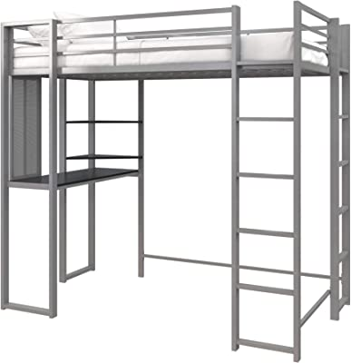 DHP Abode Twin Size Metal, Silver Loft Bed