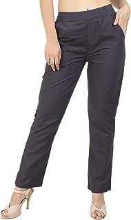 Makxziya Women's Grey Regular Fit Rayon Trouser