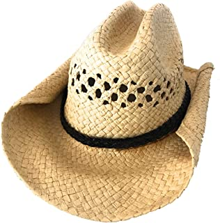 Rolled Up Western Cowboy Hat   Natural Straw Color with...