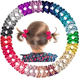 """40 Pieces Baby Girls Fully Lined Hair Pins Glitter Tiny 2"""" Hair Bows Alligator Clips for Little Girls Infants Toddlers 20 ..."""