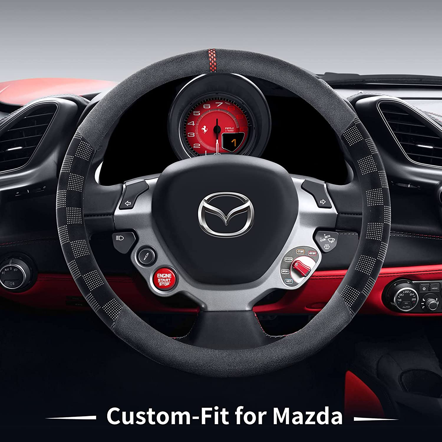 Car Steering Wheel Manufacturer New arrival OFFicial shop Cover for Route Mazda Non-Slip Microfib Deer