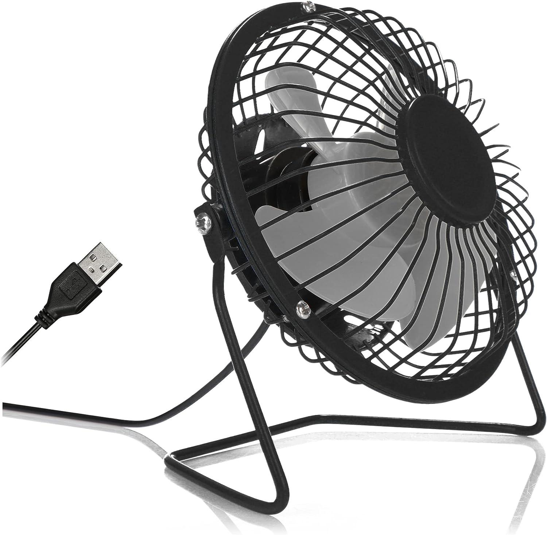 com-four® Ventilador de Escritorio USB, Mini Ventilador silencioso para la Oficina y el Escritorio, Ventilador de pie Fresco en Colores clásicos (Negro Gris)