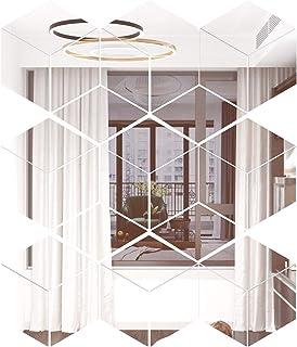 NoneBrand 31 Pieces Removable Acrylic Mirror Setting Wall Sticker Diamond Mirror Wall Decal Silver Mirror Reflection DIY ...