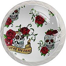 Dead of The Dead Skulls met roos, 4-Pack ABS hars keukenkast knoppen trekt ronde afdrukken dressoir knoppen lade handgrepe...