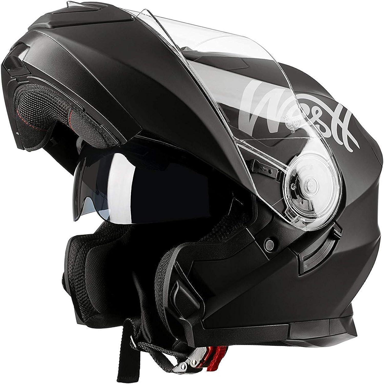 Westt - Casco Moto Modular Integral con Doble Visera Torque X, Para Motocicleta Scooter, Certificado ECE, Color Negro, Talla L (59-60cm)