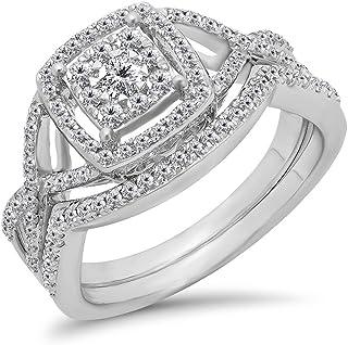 Dazzlingrock Collection 0.55 Carat (ctw) 10K Gold White Diamond Ladies Swirl Split Shank Halo Engagement Ring Set 1/2 CT