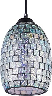 SHENGYADI Modern Mini Pendant Light with Hand Crafted Mosaic Shape, Stained Glass Pendant Lighting for Kitchen Island Dining Room Restaurant Bar Cafe Shop