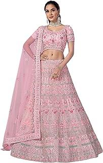 Pink Indian trendy Net Dori & Zarkan Diamond Wedding Reception Lehenga Chaniya Choli Dupatta 6228