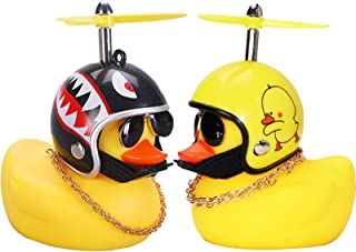 wonuu Rubber Duck Toy Car Ornaments Yellow Duck Car Dashboard Decorations with Take-Copter Helmet for Adults, Kids, Women,...