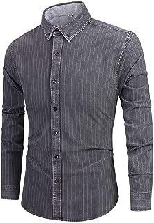Holzkary Men's Dress Shirt Button Down Shirts Loose Long Sleeve Regular Fit Plaid/Stripe Casual Shirt Tops for Work