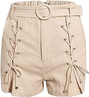 Buckle Belt lace-up Casual Shorts Women High Waist Summer Bottom Female Loose Shorts