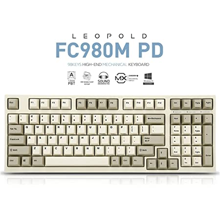 Leopold FC980M PD Mechanical Keyboard with Cherry MX Silent Red Switch for Windows/Mac (Full Size Keyboards, White Case, White/Gray PBT Doubleshot Keycaps, 99 Keys, ANSI/US QWERTY)