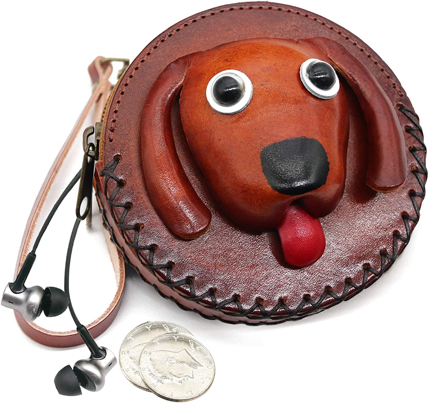 Coin Purse for Women Animal Pouches Leather Handcrafted Round Change Purse with Strap Keyring