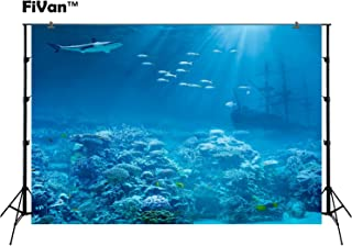 Underwater World Photo Backdrops For Summer Party Pictures Diving Holiday Themed Photography Background Undersea Photobooth Wallpaper Coral Shipwreck Shark FT3916