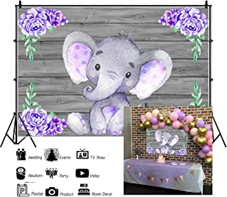 Laeacco Purple Elephant Polyester Photography Backdrops 5x3ft Studio Backdrop Background Child's Birthday One Year Baby Party Decor Purple Flowers Wooden Texture