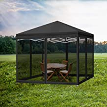 Mountview Gazebo Pop Up Marquee Outdoor Canopy 3x3m Wedding Tent Mesh Side Wall Model 2 Black